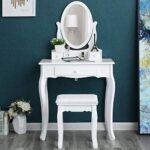 Tocador blanco con espejo y taburete moderno
